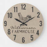 Rustic Farmhouse Rooster Burlap Family Name Large  Large Clock