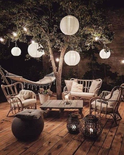 Boho patio at night