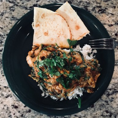 Sun Basket Chicken korma with baby spinach and coconut basmati rice