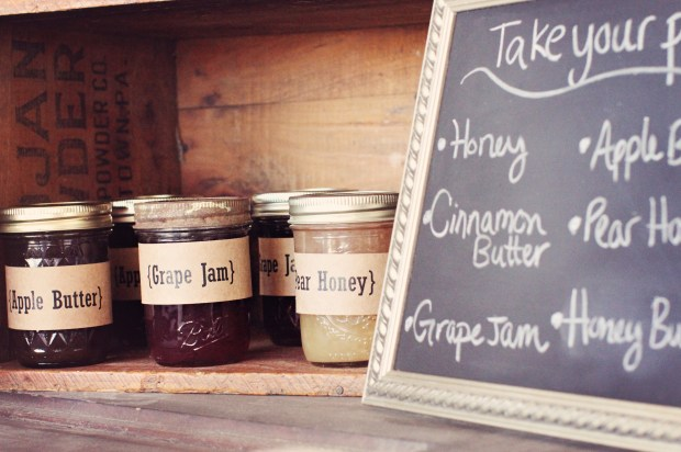 Homemade jams, jellies and butter for the hot rolls