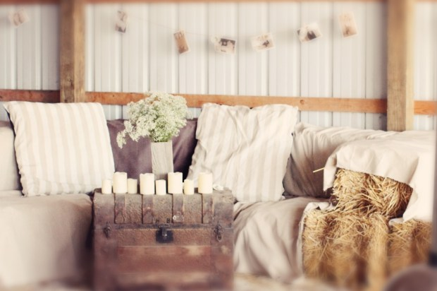 Haybale lounge with handmade pillows and covers