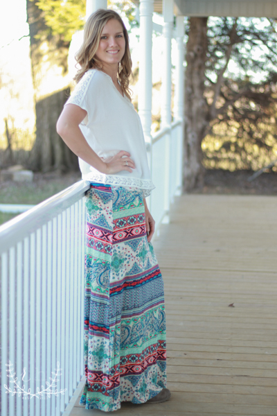 Spring-Mint-Printed-Maxi-Skirt-With-Foldover-Waistband (3 of 5)