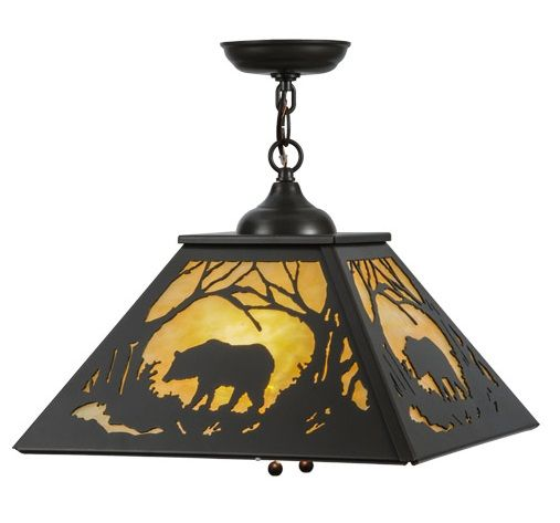 Meyda Grizzly Bear At Dawn Pendant Light Rustic Lighting