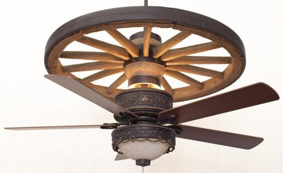 Copper Canyon Cheyenne Wagon Wheel Ceiling Fan Shown with optional KVLK510 Light Kit