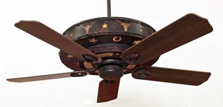Copper Canyon Longhorn Ceiling Fan   Rustic Lighting and Fans Color C127 with Silver Mica Liner   52  Walnut Blades