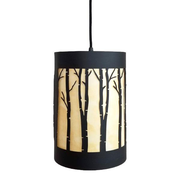 modern rustic birch pendant light