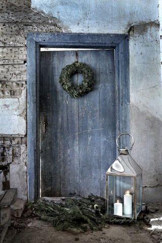Kerst deur met krans