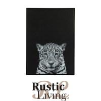 fotokader luipaard zwart canvas glans