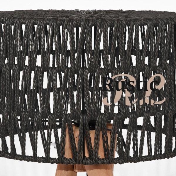 Tafellamp stripe mangohout zwart katoen1