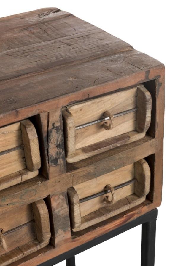 console bruin gerecycleerd hout metaal zwart