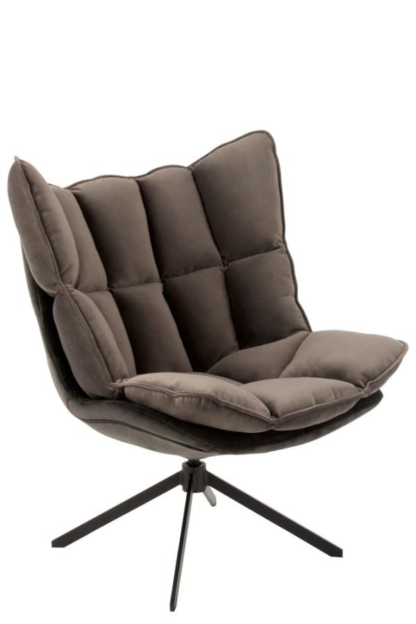 loungestoel relax textiel grijs metaal zwart