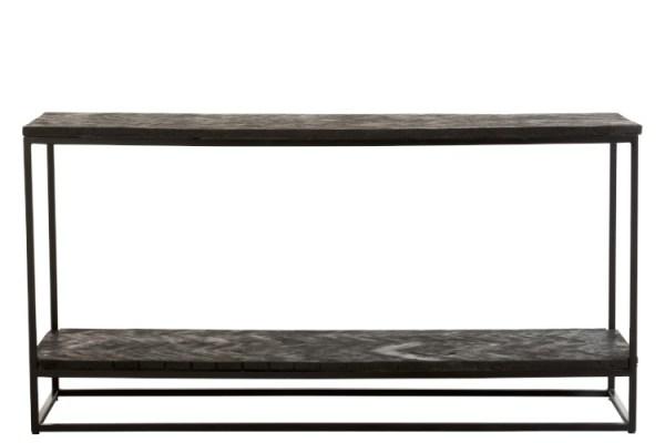 Console grub drijfhout visgraat metaal zwart