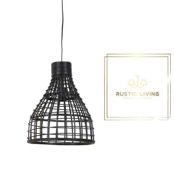 Hanglamp Puerto medium rond rotan hout zwart