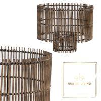 lampenkap cilinder bamboe metaal bruin