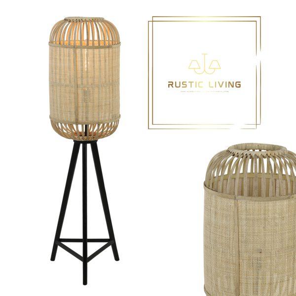 vloerlamp Alifia bamboe webbing naturel hout zwart