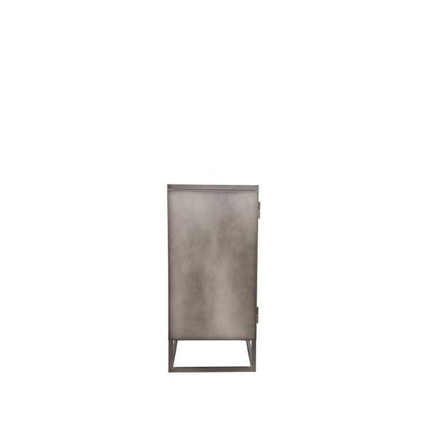 vitrinekast onbewerkt metaal glas level laag