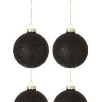 Doos Van 4 Kerstballen Sterretjes Glas Zwart Medium