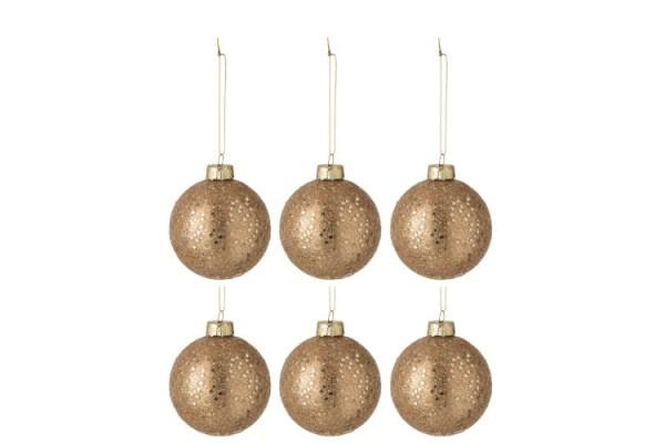 Doos Van 6 Kerstballen Sterretjes Glas Brons Small