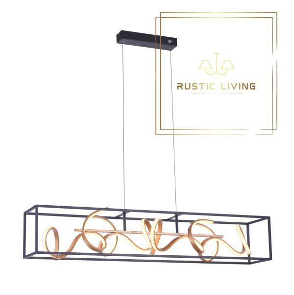 Hanglamp Selina traploos dimmen lichtstaven goud metaal zwart