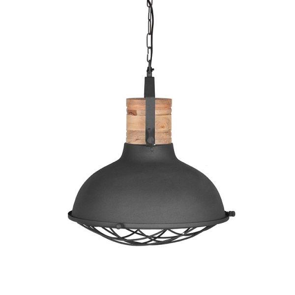 hanglamp Grid mangohout naturel metaal antraciet 34