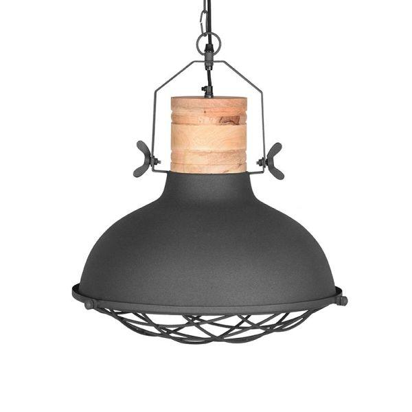 hanglamp Grid mangohout naturel metaal antraciet 52
