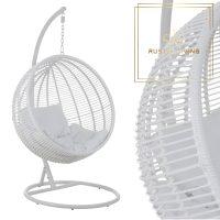Hangstoel rond staal wit met kussens wit
