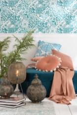 moroccan sunset J-line azuur blauw en zalm kleur. Rustic Living