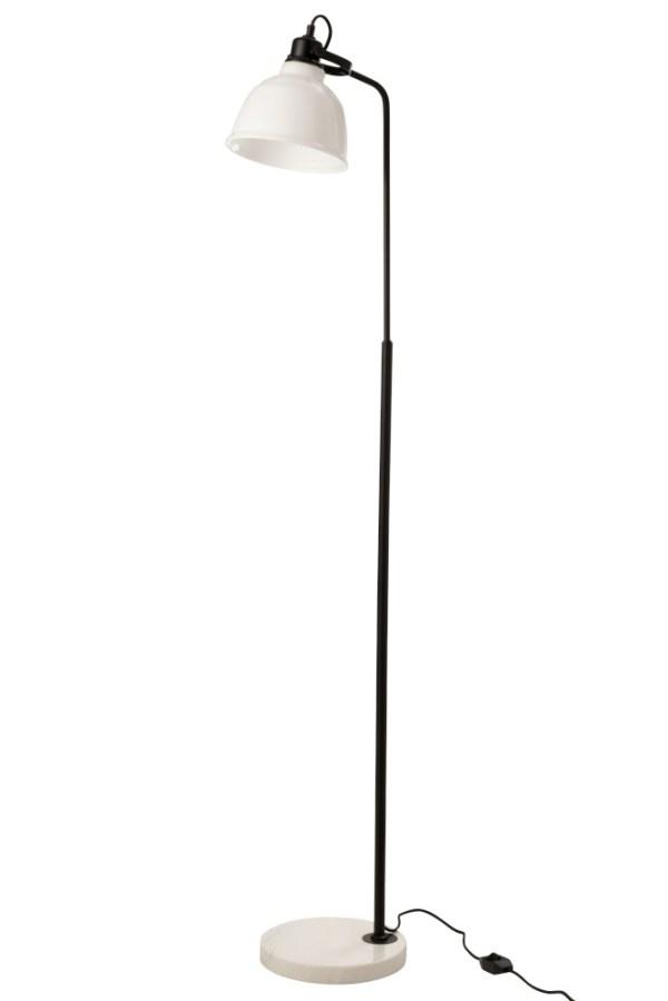 Vloerlamp Magali marmer Staal Glas Wit