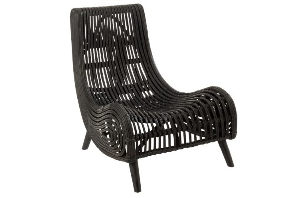 ligstoel rotan zwart
