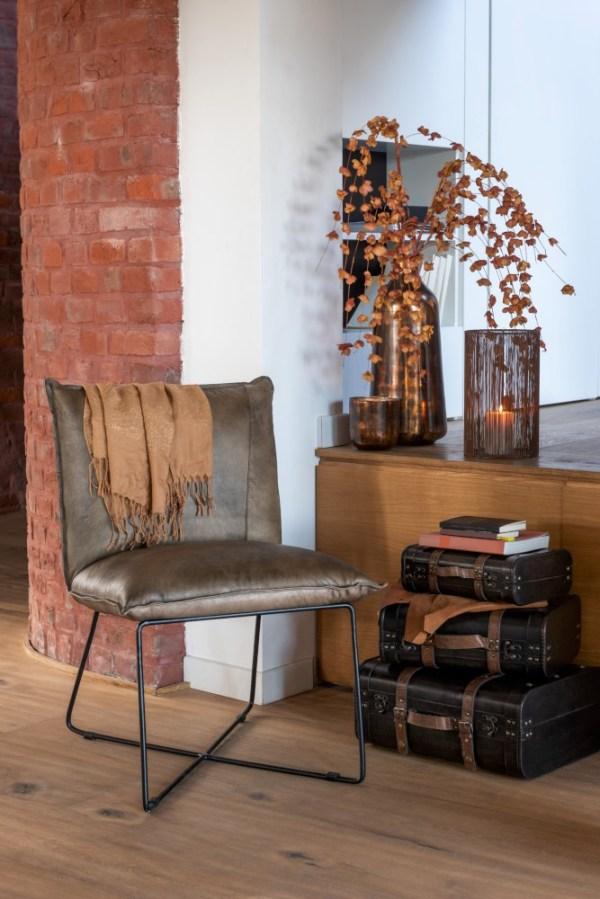 Lounge Stoel Avi Leder/Ijzer Grijs-Groen