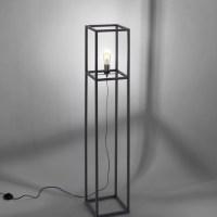 Staande lamp, zwart, retro stijl, moderne kooilook, incl. Voetschakelaar
