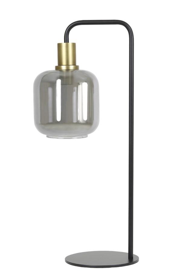 Tafellamp LEKAR antiek brons smoke glas