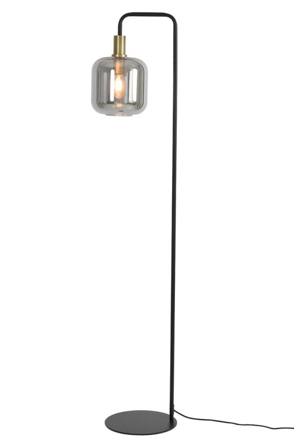 Vloerlamp LEKAR antiek brons smoke glas