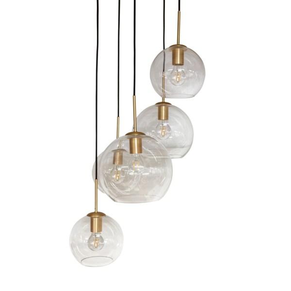 Hanglamp met 5 glazen bollen goud metaal