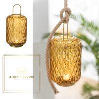 Lantaarn Motief Glas/Metaal Oker Small