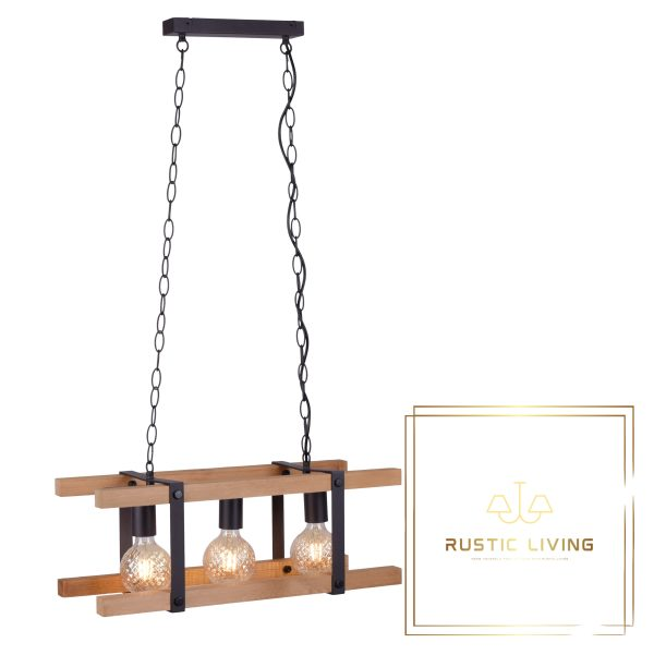 Vintage Hanglamp Edith eiken hout metaal zwart excl 3x ledlamp