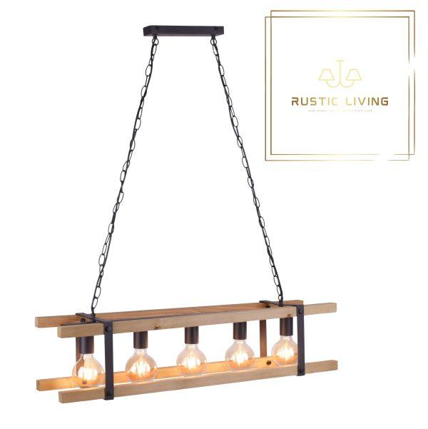 Vintage Hanglamp Edith eiken hout metaal zwart excl 5x ledlamp