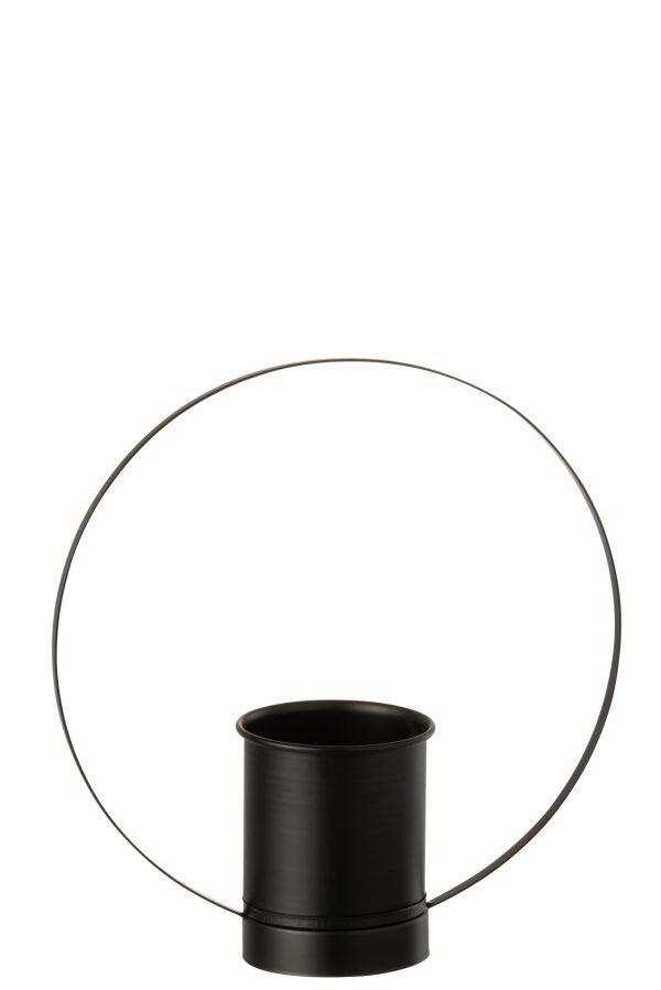 Bloempot Cirkel Metaal/Glas Zwart