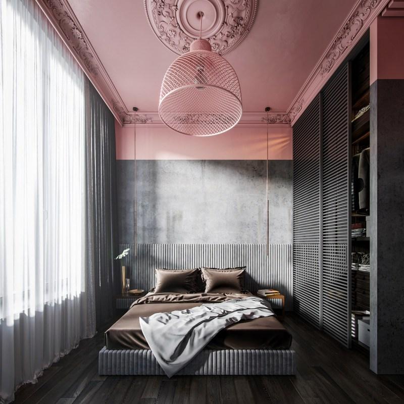 Color blocking roze met antraciet, bruin