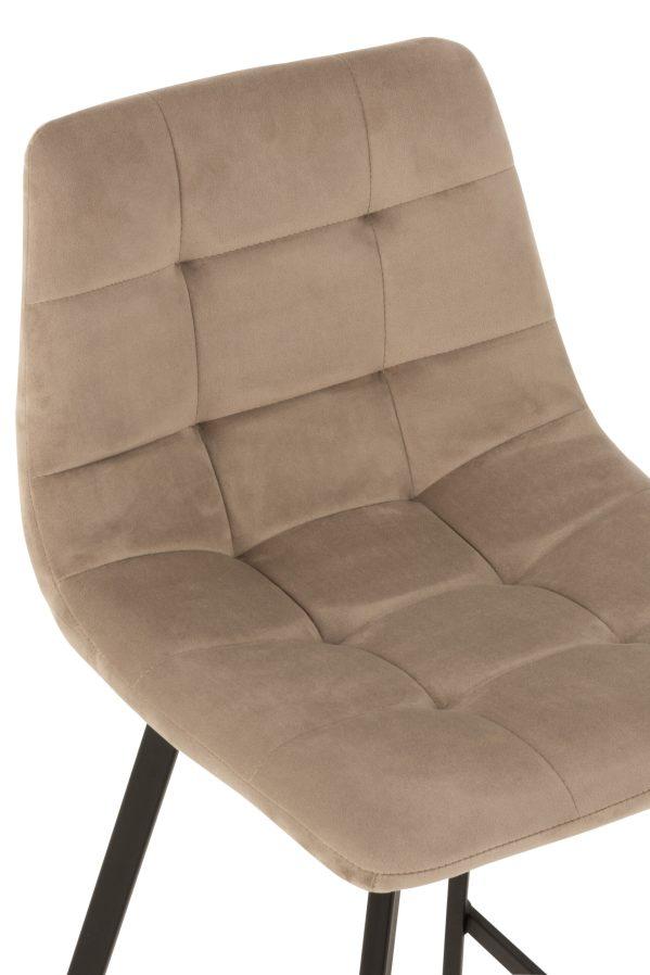Barstoel Olivier Textiel fluweel Metaal Beige