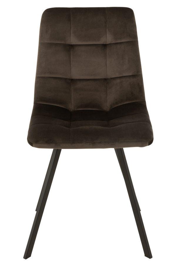 Stoel Morgan Textiel fluweel Metaal zwart Donker Grijs