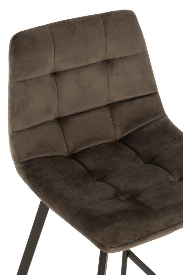 Barstoel Olivier Textiel fluweel Metaal Donker Grijs