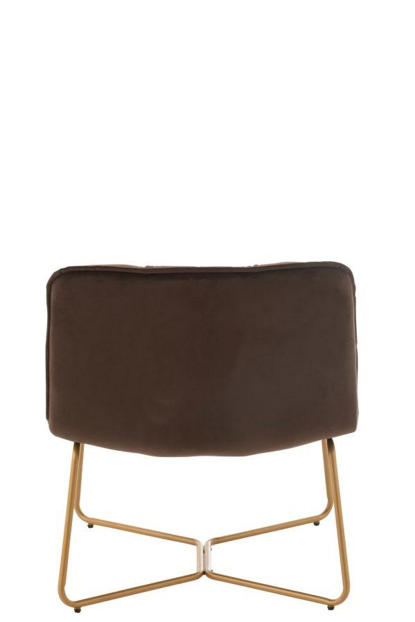 Lounge Stoel Lisa Metaal/Textiel Donker Bruin