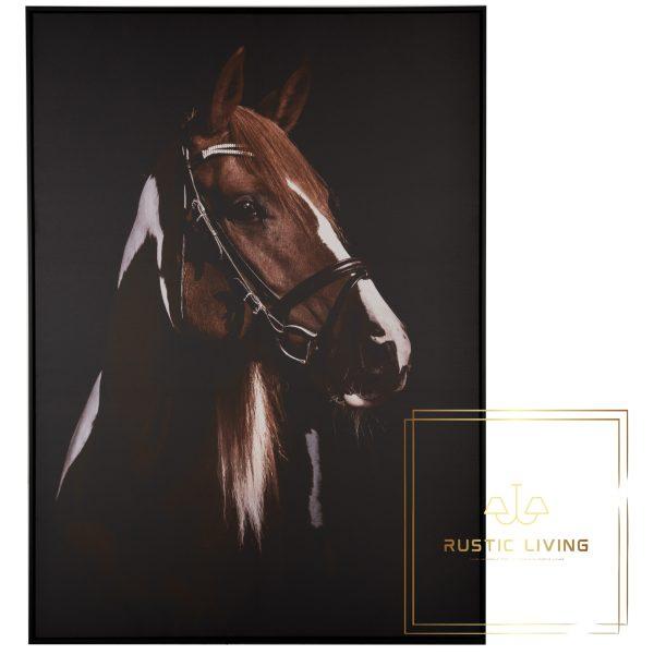 Kader Paard Hoofd Canvas Hout Bruin Zwart