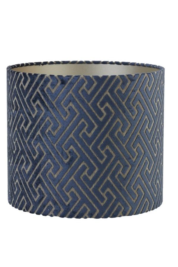 Lampenkap maze fluweel donker blauw taupe 35cm