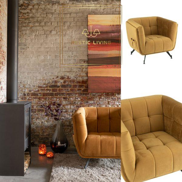 Lounge Zafira Zetel 1-Zit Textiel Hout Metaal Oker