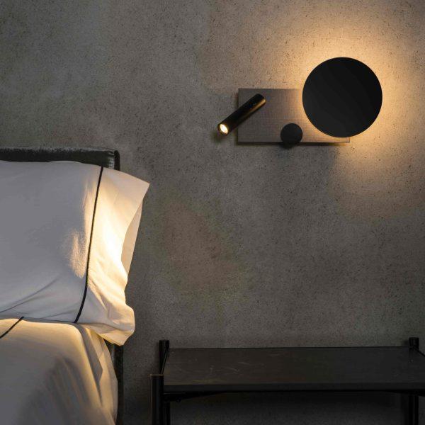 Faro Klee Led design lamp wandlamp met leeslamp grijs rechts