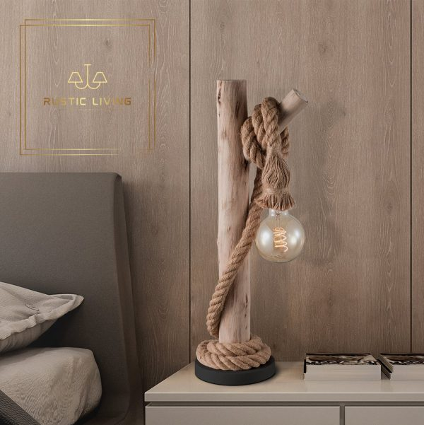Tafellamp tak met scheepstouw metaal zwart hout naturel