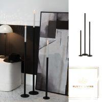 Set Van 3 Kandelaars Hoog Modern Metaal Mat Zwart