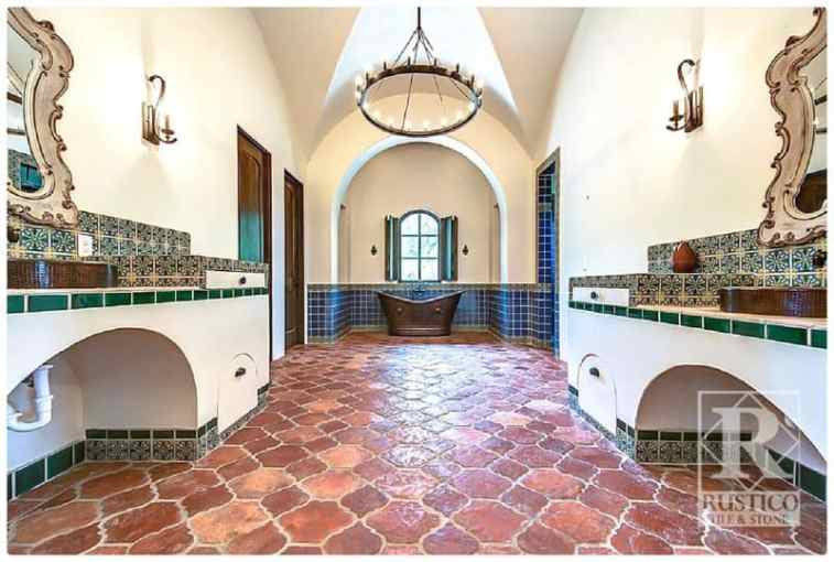 Mexican Tile   Spanish Tiles   Wholesale Prices   Worldwide Shipping Antique Riviera Saltillo Flooring with Painted Talavera Tiles